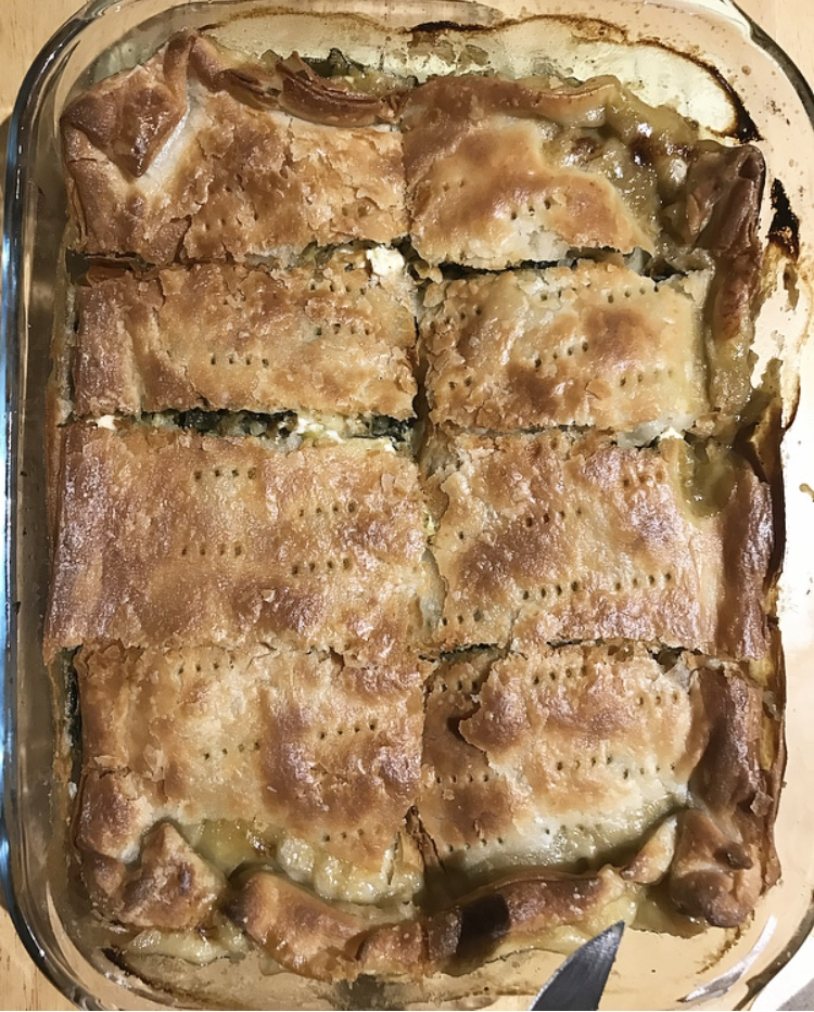 A slightly unconventional remaking of spanakopita, this Greek savoury pastry comprises leeks as an equally tasty and substantial alternative to onions. The basic premise of the filling still upholds traditional expectations, with feta cheese and spinach, and a hint of nutmeg.
